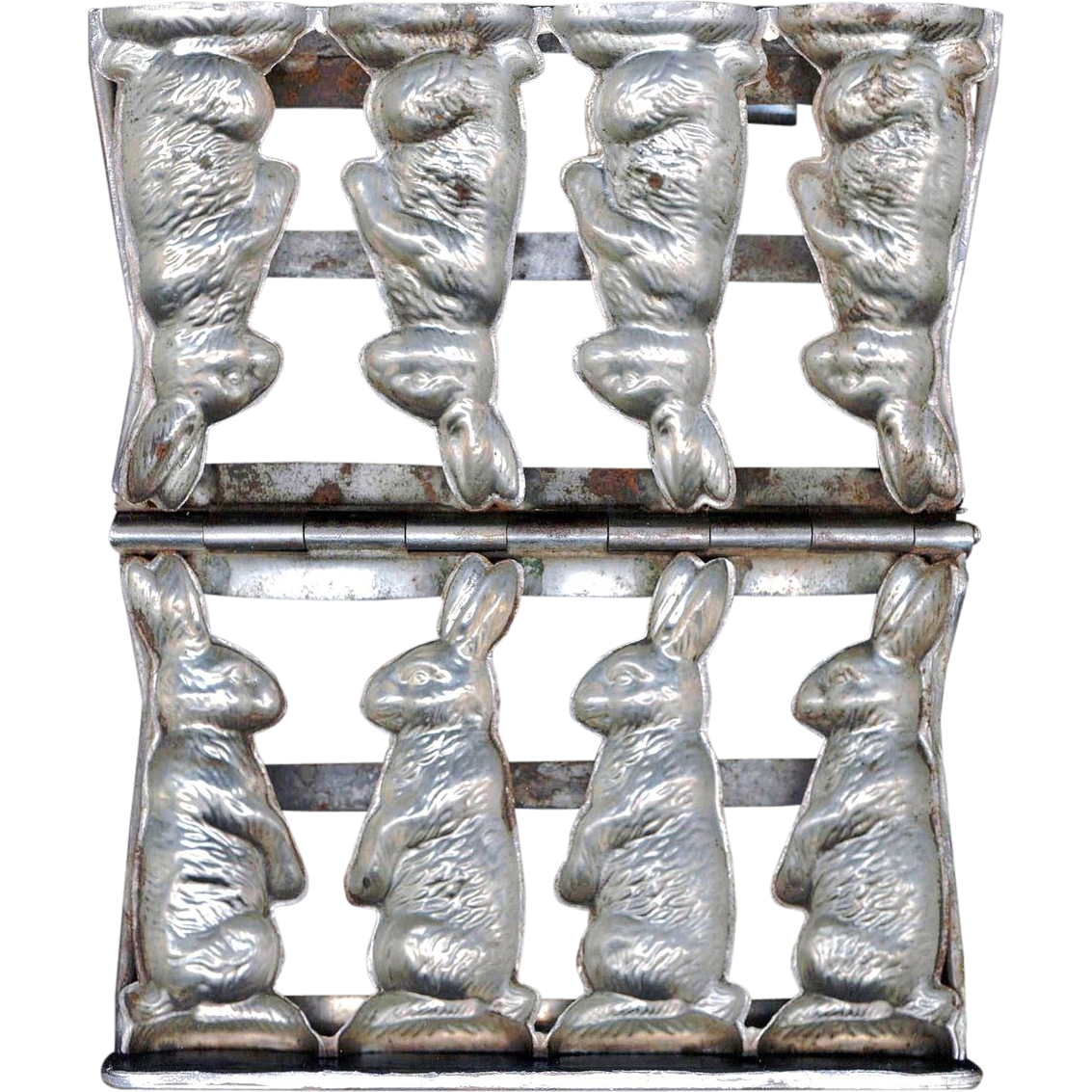 1929 Anton Reiche German Easter Rabbit Chocolate Mold - Mould No. 6310 Classic Sitting Hare - Set of Four in a Hinged Pewter Frame