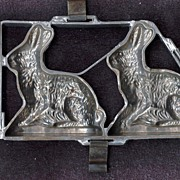 Two Easter Rabbit Vintage Chocolate Molds – Classic Large Sitting European Hares - Hinged Pewter Frame with Solid Base