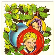 Flash Gordon and Dale Arden Comic Strip Characters - Vintage 1951 Christmas Greeting Card - Created and Drawn by American Cartoonist Alex Raymond - Unused