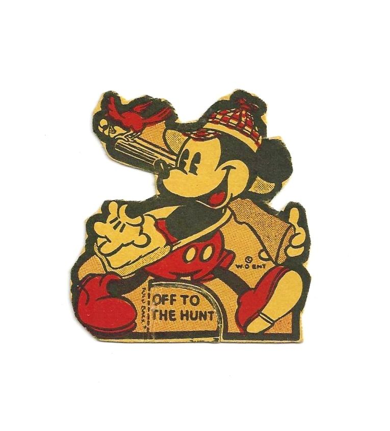 c1938 Mickey Mouse  Disney Cartoon Character - Walt Disney Enterprises Copyright - We Hope Mickey's Had a NRA Hunting Safety Class....  - Vintage Small Stand-up Cardboard Cut-out - 10% DISCOUNT with Purchase of BOTH MM Hunting Cut-outs!!