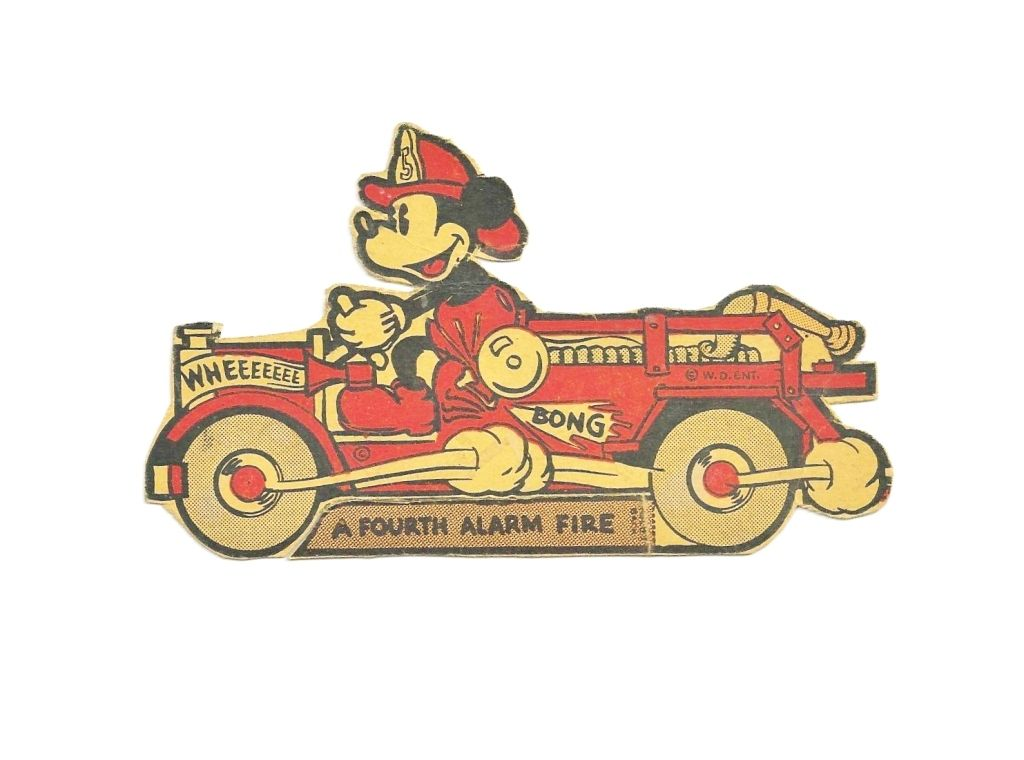 c1938 Mickey Mouse Disney Cartoon Character - Mickey With Fire Engine Vintage Cardboard Stand-up Cut-out - Walt Disney Enterprises Copyright - Small