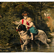 Landseer Newfoundland Dog Vintage Victorian Chromolithograph Card Album Scrap - Rural Wooded Valley Stream with Children and Cottage