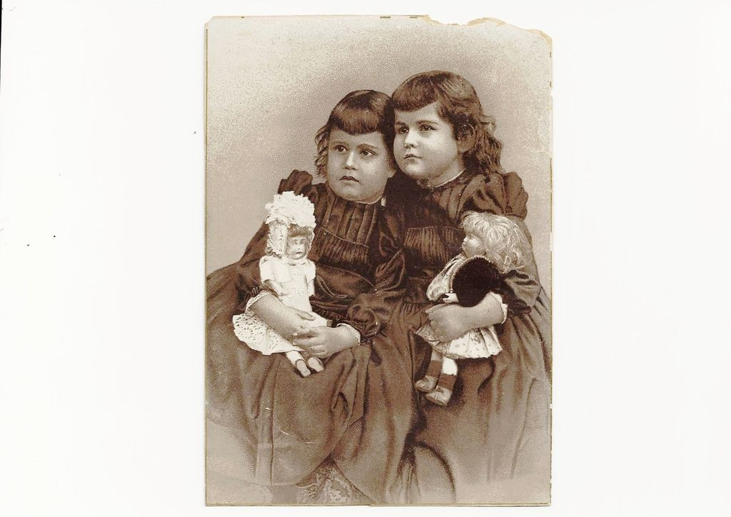 c1880 Southern Methodist Church Saint Louis Victorian Steel Engraving Album Scrap Card - Marvin Chapel Sunday School Program Invitation - Girl Sisters & Dolls Portrait