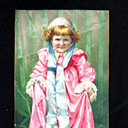 Victorian Girl Child Chromolithograph Trade Card Album Scrap - Metropolitan Life Insurance Advertising -  Pink Dress - Lace Cap & Petticoat -Satin Ribbon - LARGE
