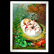 c1890 Victorian Winged Fairy-Pixie-Sprite Antique Embossed Chromolithograph Card - Spring Season and Easter Egg Shell Themes -- Album SCRAP