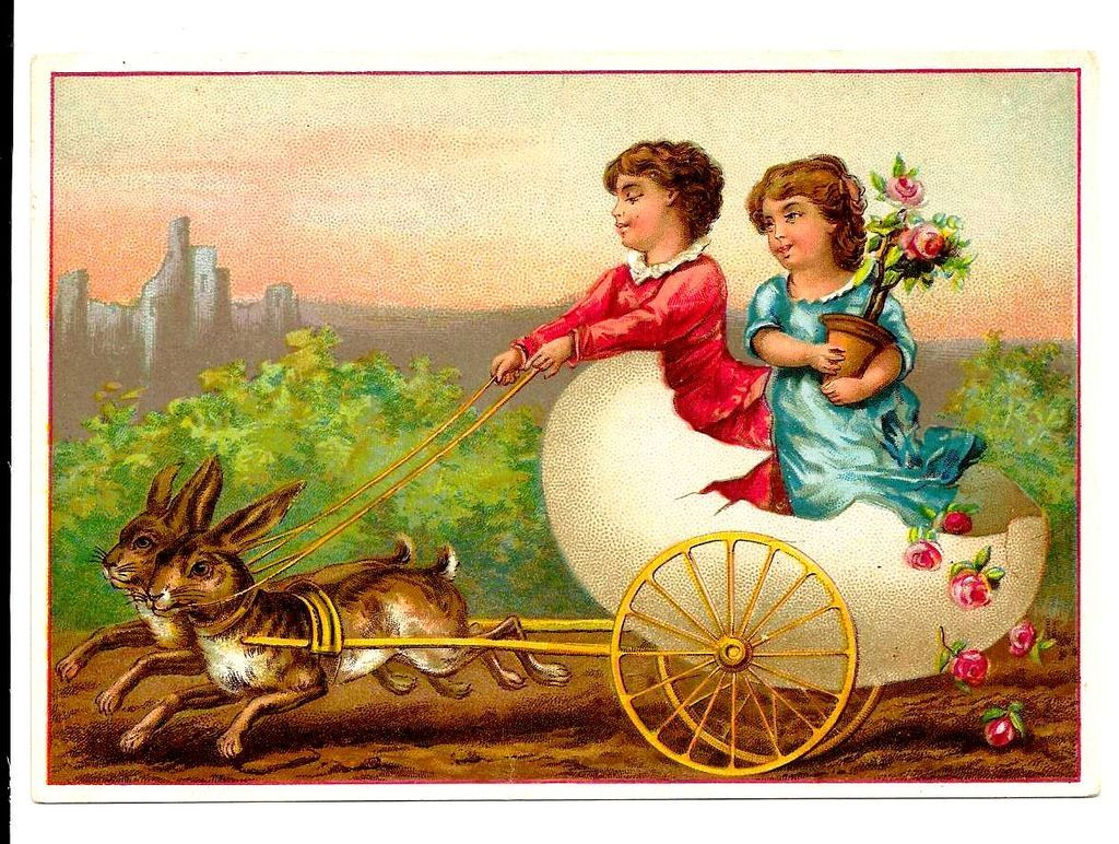 c1890s Victorian Card Album Antique Scrap Easter Rabbit Team and – Victorian Easter Cards