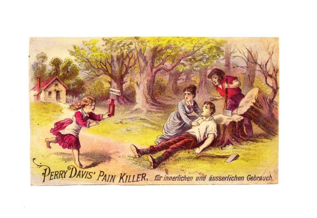 1870s Patent Medicine Victorian Advertising Trade Card Im Deutsch- Perry Davis Pain Killer - German Language