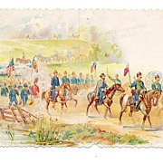 Victorian G. A. R. Programme / Dance Card Cover - Stationary Saleman's Full Color Chromolithograph Vintage Advertising Sample - American Civil War Union Army Panorama - Troops on the March