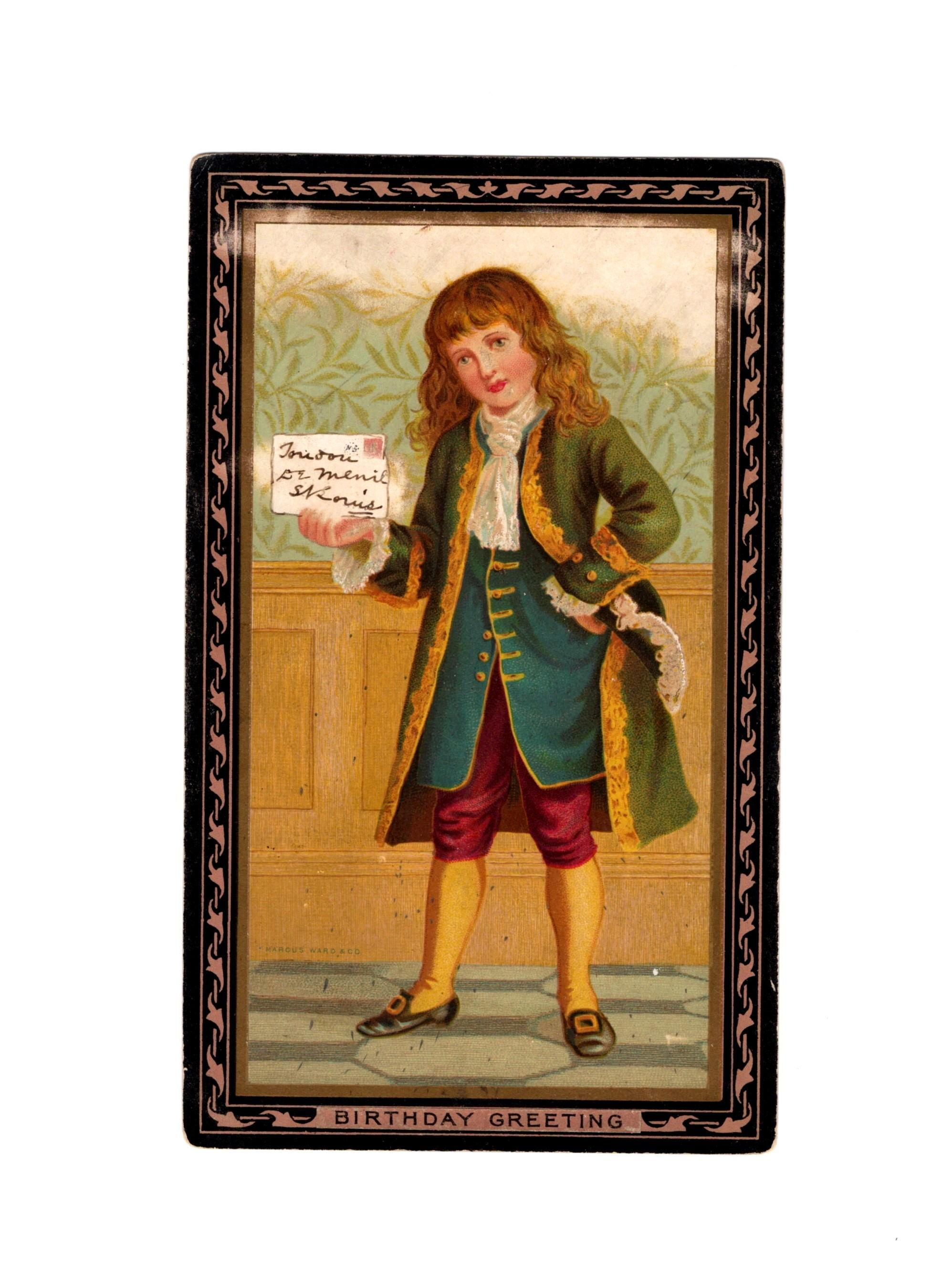1890s Victorian Birthday Colonial Boy Greeting Card Album Scrap - Saint Louis, Missouri