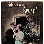 1916 Polish Language Christmas Vintage Postcard - Krakow, Poland Publisher-Jersey City, New Jersey Postmark - Brooklyn, New York Address - Polish Message