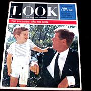 "1963 John F. Kennedy Pre-Assassination LOOK Magazine Issue:  John F. Kennedy, Jr.  Little ""John-John"" White House Oval Office 10-Page Photo Story - New York Giants Football - 16th Street Birmingham Baptist Church Bombing - 1964 Classic Cars Ads"