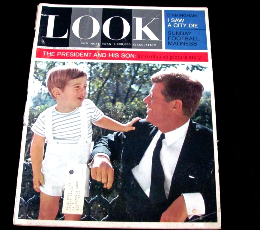 "1963 John F. Kennedy Pre-Assassination LOOK Magazine Issue:  John F. Kennedy, Jr.  Little ""John-John"" White House Oval Office 10-Page Photo Story - New York Giants Football - 16th Street Birmingham Baptist Church Bombing - 1964 Classic Cars Ads"