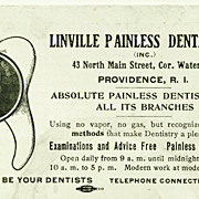 "c1920 Dentist Advertising Trade Card – ""Absolute Painless Dentistry"" – Linville Painless Dental Co. – Providence, Rhode Island"