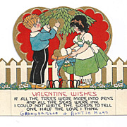 1920s Art Deco Children's Vintage Valentine - Gold Leaf - Vivid Color Lithography - Cut-out Flat Card