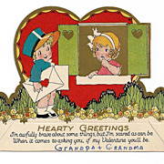 1920s Art Deco Children's Vintage Valentine - Little Boy Mailman in Blue – Red-Headed Girl - Gold Leaf - Vivid Color Lithography - Cut-out Flat Card
