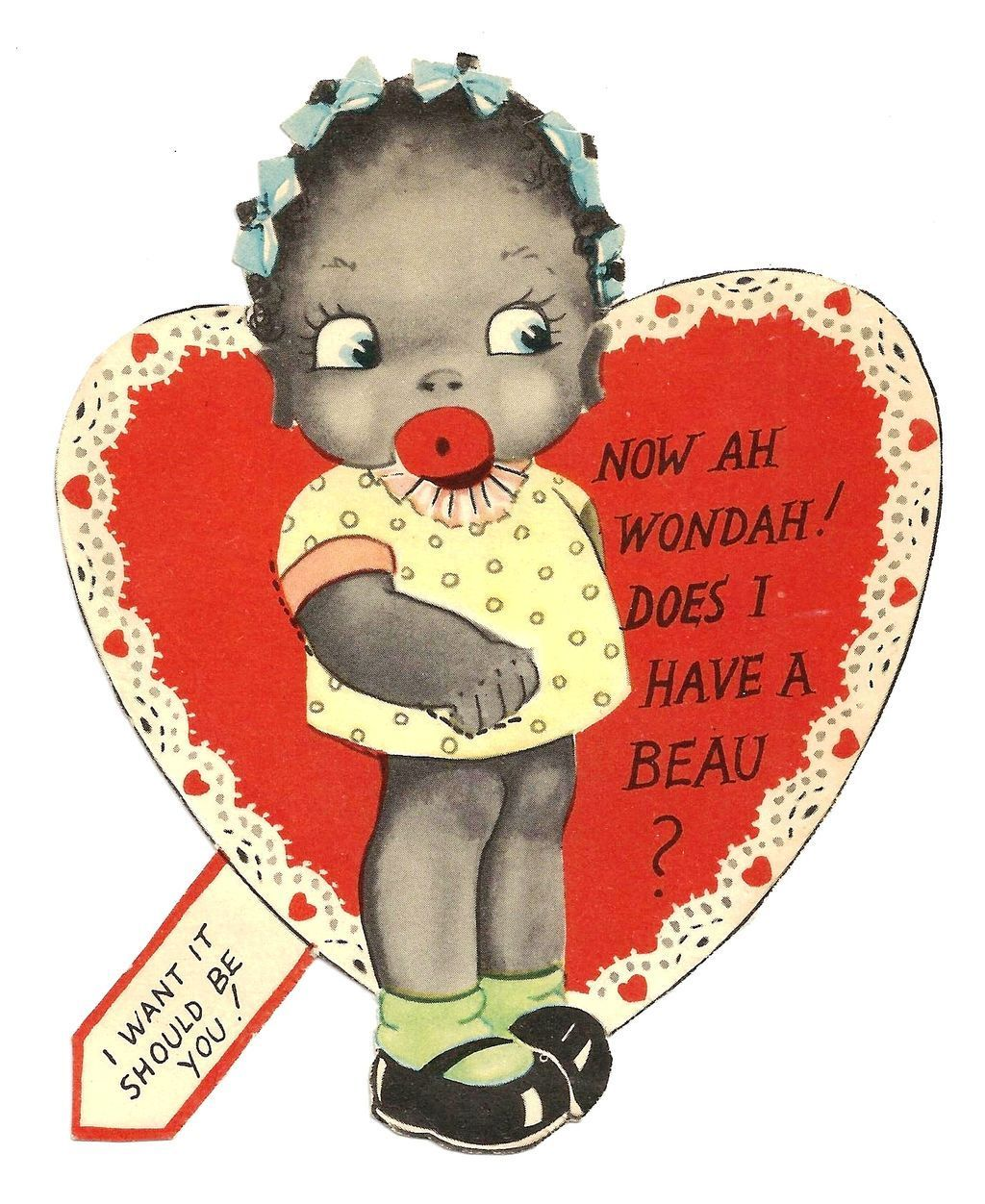 1920s African American Childrenu0027s Vintage Valentine   Black Americana  Little Girl Caricature  Vivid Color Lithography   Cut Out Flat Card