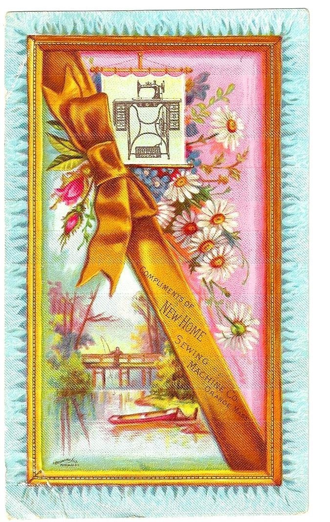 "c1890 New Home Sewing Machine Company Victorian Advertising Trade Card – J. Ottmann Lithography - Satin-Textured ""Fabric"" Finish"