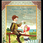 1880s New England Patent Medicine Victorian Advertising Trade Card – Children Playing at a New England Beach - Williams & Carleton, Wholesale Druggists, Hartford CT - Williams' Choice Flavoring Extracts & New England Cough Remedy