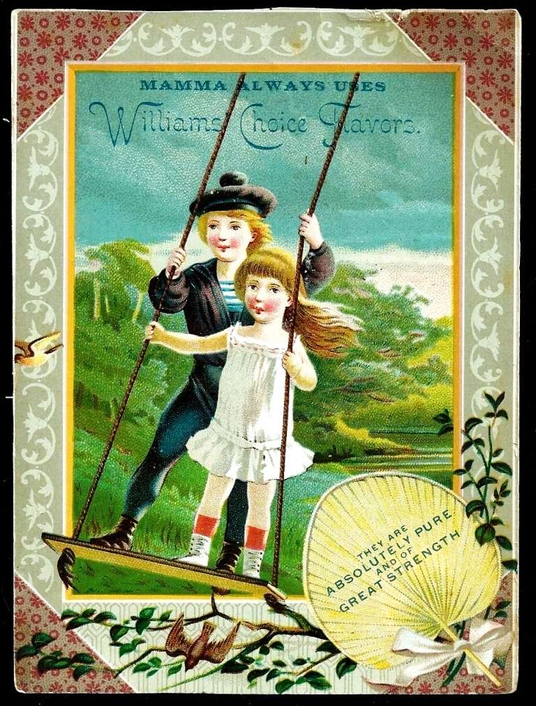 1880s New England Patent Medicine Large Victorian Advertising Trade Card – Children Playing on a Swing – Williams & Carleton, Wholesale Druggists, Hartford CT – Williams' Choice Flavoring Extracts & New England Cough Remedy