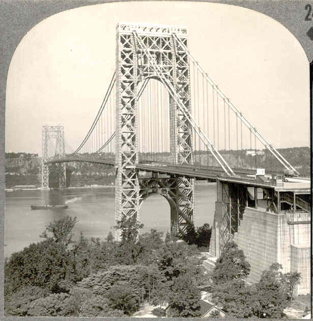 c1938 George Washington Bridge New York City Real Photo Stereo View - Manhattan Landmark - Keystone View