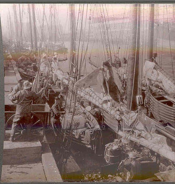 Rare c1920 Boston Fishing  Fleet  Real Photo Stereo View - Sailing Ship Unloading Catch at Boston Fishing Wharf - Sepia-Toned Keystone Stereo View