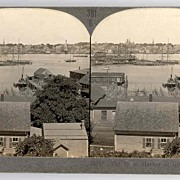 c1930s Gloucester Fishing Fleet Real Photo Stereo View - Gloucester Massachusetts Inner Harbor - Keystone Real Photo