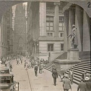 c1920 New York City Wall Street Real Photo Stereo View - Looking West Along Wall Street From Broad Street - Trinity Church - U.S. Sub-Treasury Building - Site of Washington's Inauguration as President - 1920s Car Traffic - Keystone View