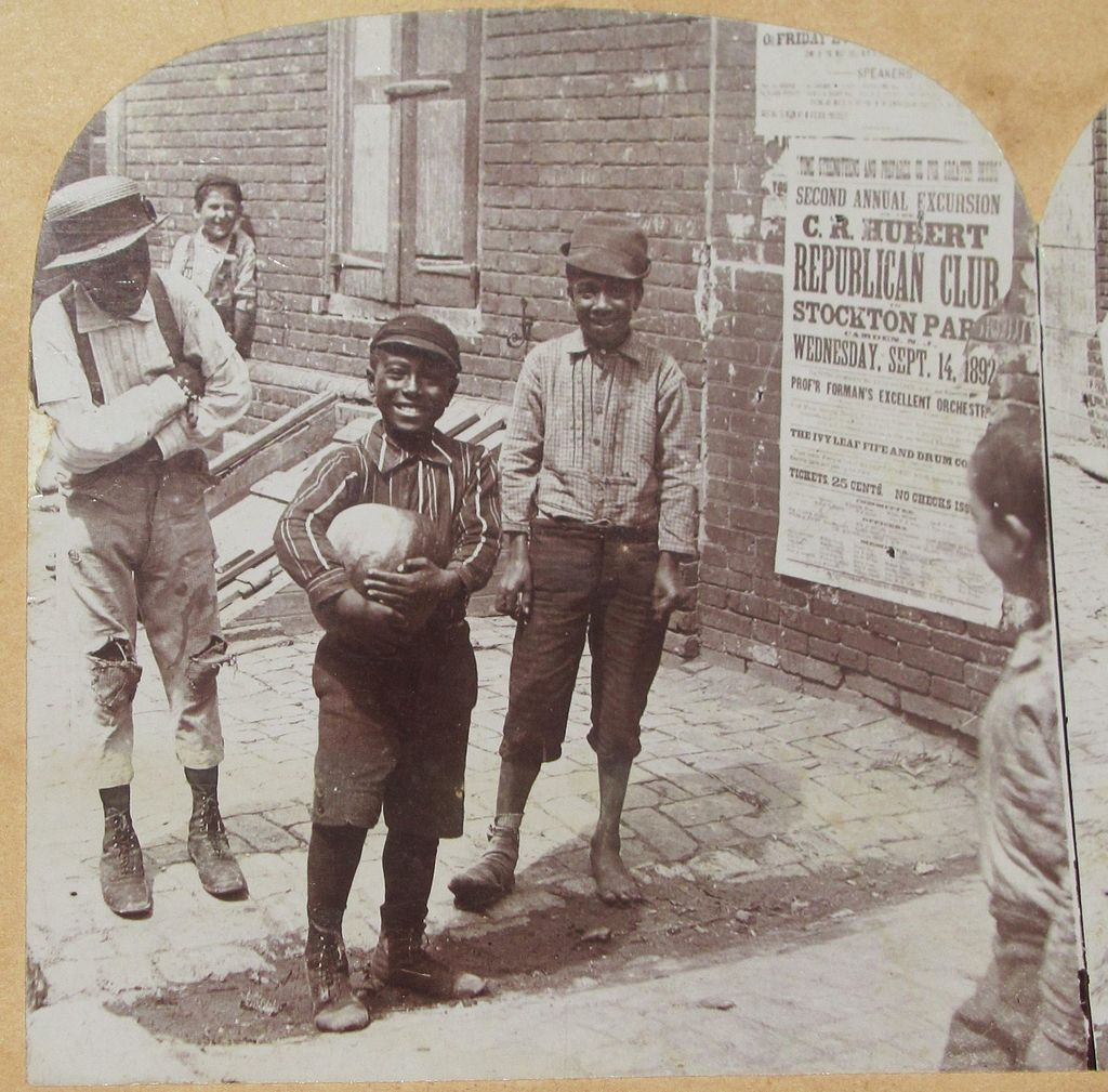1892 Rare Victorian Interracial  African American and White Real Photo Stereoview - Camden New Jersey  Street Boys - Republican Political Club – C.H. Graves Real Photo View - Universal Photo Art Co.