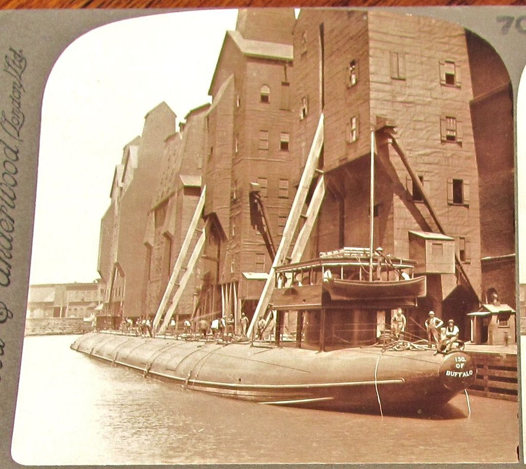 1890s Chicago Great Lakes Grain Cargo Ship Vintage Real Photo Stereo View - Unusual  Whaleback Grain Freighter Ship Receiving Grain From Chicago Grain Elevators – Underwood Stereo View