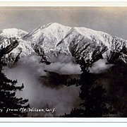 1930s Mount Baldy, California Real Photo Postcard – Mount San Antonio Taken from Mount Wilson - Unused