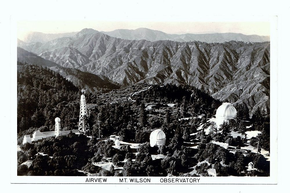 1930s Los Angeles California Mount Wilson RPPC Real Photo Postcard - Mount Wilson Observatory - Hooker Telescope - San Gabriel Mountains- Pasadena - Astronomers  George Hale and Edwin Hubble - Unused