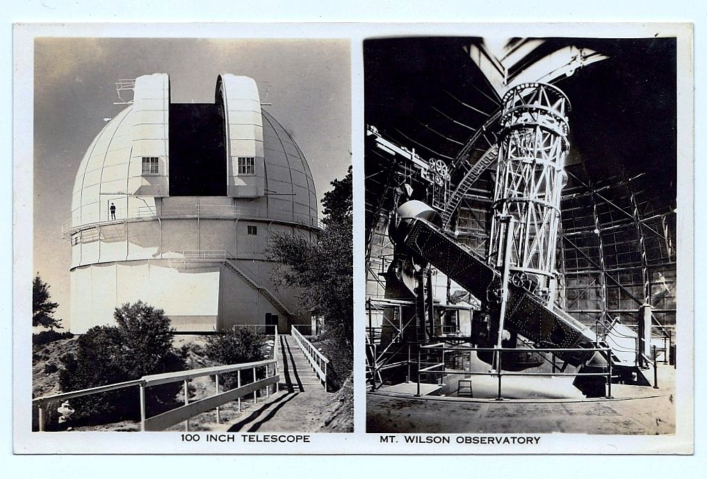 1930s Mount Wilson, California Real Photo Postcard – Mount Wilson Observatory – Hooker Telescope – Used by Astronomers George Hale and Edwin Hubble - San Gabriel Mountains