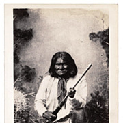 Geronimo Chiricahua Apache Indian Native American Tribe Chief Real Photo Postcard - c1937 Frasher Arizona RPPC Postcard Series