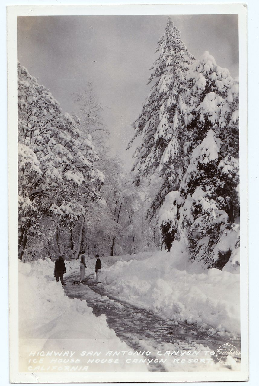 1930s Los Angeles, California San Antonio Canyon RPPC Real Photo Postcard - Mount Baldy - San Antonio Canyon Highway Winter Sports Scene - Ice House Canyon Resort - San Bernardino County - Unused