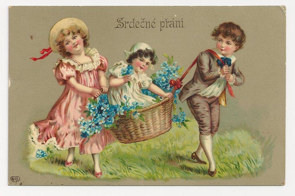 c1910 Victorian CHILDREN Vintage Postcard - CZECH-BOHEMIAN Slavic Language Greeting -  GERMAN-MADE High-Gloss Gelatin Coated Finish Chromolithograph - Unused