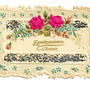 c1910 Paper Lace Polish Name Day Greeting / Gift Card Vintage Album Scrap - Hand-Painted Red Roses - Gold Gilt Leaves - Appliqué  Mica Chips