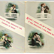 2 c1910 Polish Language Love Poetry Romantic Courting Vintage Postcards - Hi-Gloss Gelatin Coated Finish - Made in Austria - Unused
