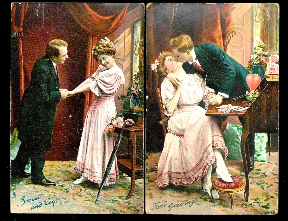 1908 Raphael Tuck Chromolithograph Humorous Romantic Courting Vintage Postcards (2) - Teenage Girl with Different Beaus - Published Great Britain - Printed in Saxony (Germany)