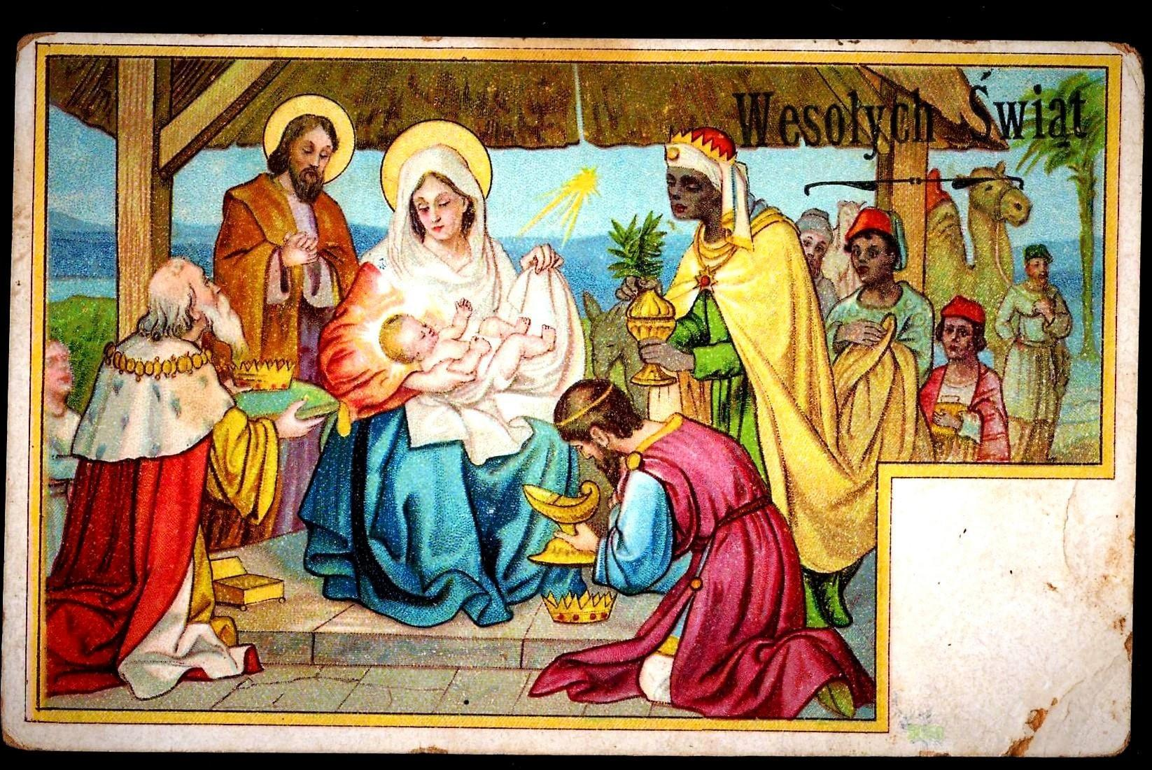 c1910 Religious Christmas Nativity Vintage Postcard - Baby Jesus - Magi Bearing Gifts - Holy Family Virgin Mary & Joseph - Polish Greeting and Message