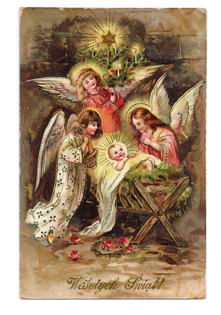 c1910 Religious Christmas Nativity Vintage Postcard - Baby Jesus in Manger - Child-Like Angels - Polish Greeting - German-Made - Gelatin-Coated Glossy Finish