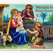 c1910 Religious Christmas Nativity Vintage Postcard - Baby Jesus - Virgin Mary - Holy Family - Shepherd Boy - Bright Gold Accents, Trim & Lettering - Gelatin Glossy Finish - Polish  Greeting - German-Made