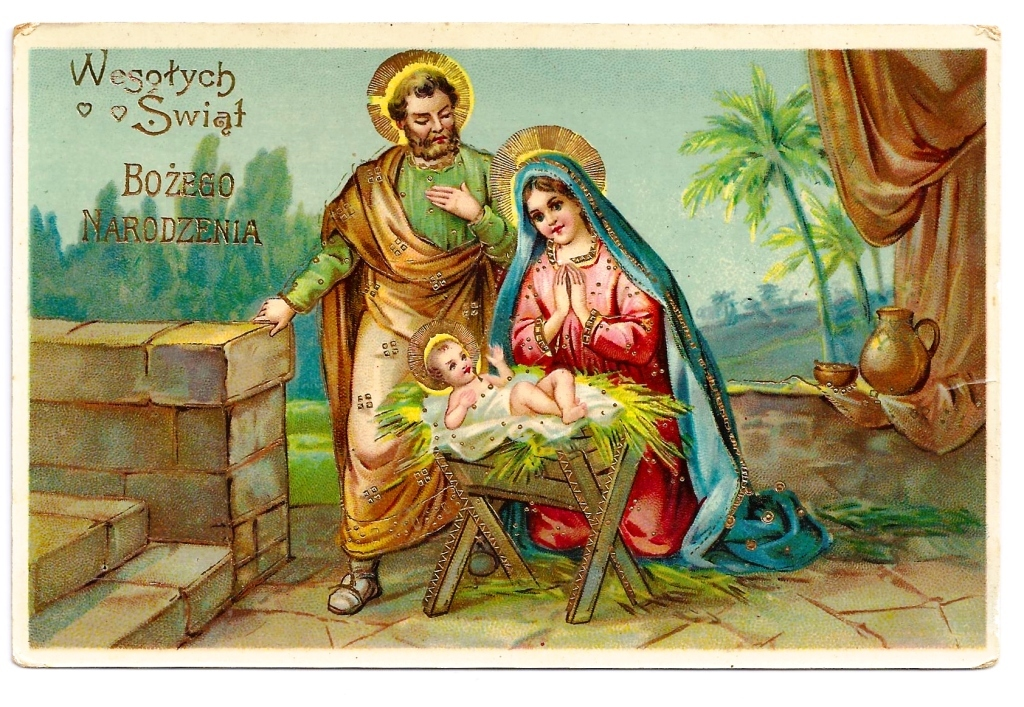 c1910 Religious Christmas Nativity Vintage Postcard - Baby Jesus - Virgin Mary -  Holy Family - Manger - Embossed Bright Gold Accents, Trim & Lettering - Gelatin Glossy Finish - Polish Greeting - German-Made