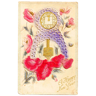 c1912 New Years Mantle Clock Greeting Vintage Postcard - Heavily Embossed Bas Relief - Silk-Screened - Appliqué Felt - IG & Co., NY Publisher - Made in Austria - Brooklyn NY Postmark