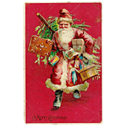 Late Victorian CHRISTMAS Santa Claus / Father Christmas / Saint Nicholas - Vintage c1909 German-Made Embossed Postcard - In Long Red Coat Trimmed in White Fur - Carrying Christmas Tree, Children's Toys and Gifts