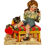 c1920s Black Cat Children's Valentine Vintage  German-Made Card - c1900-1915 Telephone - Boy in Short Pants