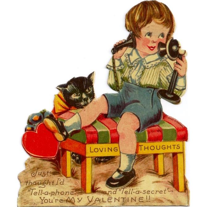 C1920s Black Cat Childrens Valentine Vintage German Made Card