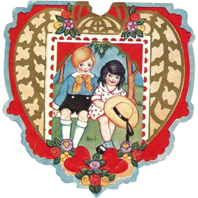 c1920 Boy-and-Girl Children's Paper Valentine Vintage Card - Embossed Die-cut Color Lithographs - Gold Leaf