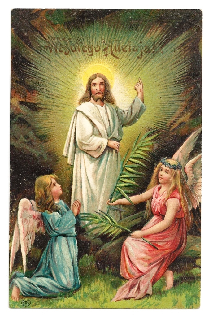 "c1905 Religious Easter Polish Language Greeting Vintage Postcard - Risen Christ Jesus - Winged Angel Children - Polish ""Weslego Alleluja"" Greeting - German-Made - E. A. Schwerdtfeger & Co., Publisher - Heavily Embossed"