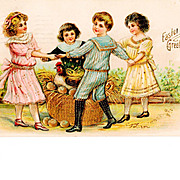 c1908 Easter Greeting Postcard - Gilt Trimmed Dancing Children, Hen and Golden Eggs - German-Made - Heavily Embossed Chromolithograph - 1908 Brooklyn Station NY Postmark - Polish Language Message – Berlin Publisher