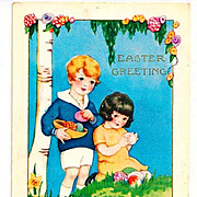 c1920 Whitney-Made Easter Greeting Postcard - Embossed Art Deco Children Chromolithograph - Boy & Girl, Easter Eggs & Duck Pond - Unposted